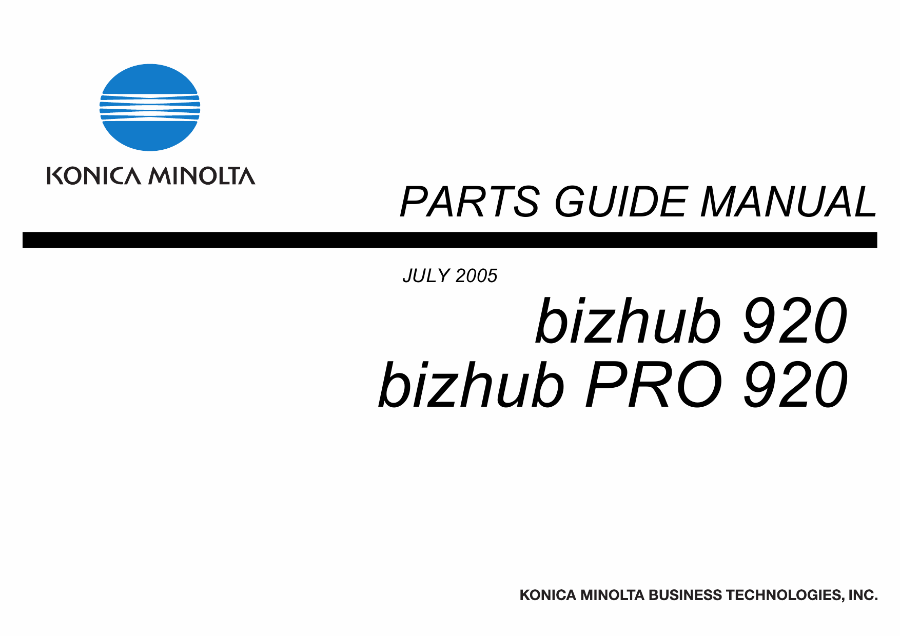 Konica-Minolta bizhub-PRO 920 Parts Manual-1